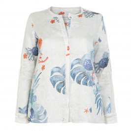 OPEN END LINEN SHIRT IN BLUE AND CORAL PRINT - Plus Size Collection