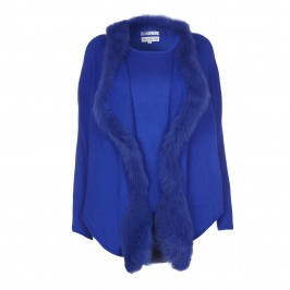 PASSIONI ROYAL BLUE FUR TRIMMED KNITTED TWIN SET - Plus Size Collection
