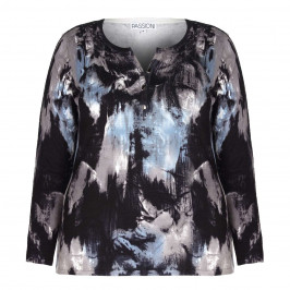 PASSIONI BLUE ABSTRACT PRINT embellished SWEATER - Plus Size Collection
