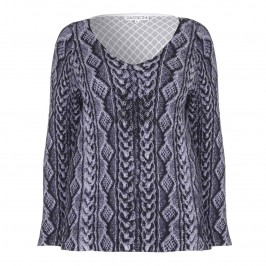 PASSIONI EMBOSSED KNIT STUDDED SWEATER - Plus Size Collection