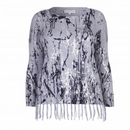 PASSIONI SILVER PAINT FRINGED SWEATER - Plus Size Collection