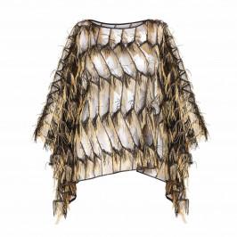 PERSONA BY MARINA RINALDI GOLD FRINGE CAPE - Plus Size Collection