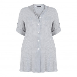 PER TE BY KRIZIA STRIPE LINE NEHRU COLLAR SHIRT - Plus Size Collection