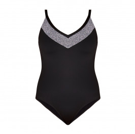 PERSONA BY MARINA RINALDI BLACK SWIMSUIT WITH SILVER V  - Plus Size Collection