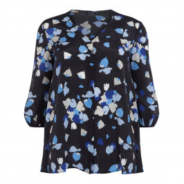 PERSONA BY MARINA RINALDI PURE SILK NAVY BLOUSE - Plus Size Collection