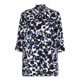 PERSONA silk print BLOUSE with tie detail