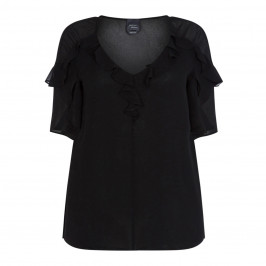 PERSONA BY MARINA RINALDI BLACK GEORGETTE FRILL TUNIC - Plus Size Collection
