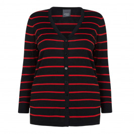PERSONA BY MARINA RINALDI BLACK AND RED STRIPE CARDI - Plus Size Collection