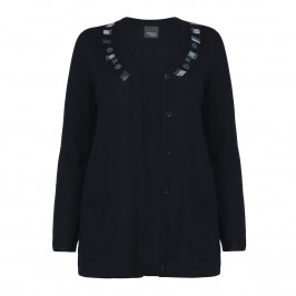 PERSONA navy beaded CARDIGAN - Plus Size Collection