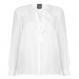 PERSONA BY MARINA RINALDI SILK BLEND COLLARLESS SHIRT WITH RUFFLE DETAIL - Plus Size Collection
