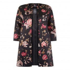 Persona Floral Stretch Satin Coat - Plus Size Collection