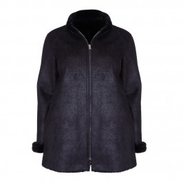 PERSONA reversible eco-shearling black COAT - Plus Size Collection