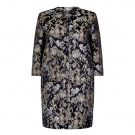 Persona Gunmetal Floral Brocade Coat - Plus Size Collection