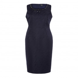 PERSONA BY MARINA RINALDI NAVY BROCADE JEWEL EMBELLISHED DRESS - Plus Size Collection