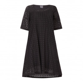 PERSONA BLACK A LINE BRODERIE ANGLAIS COTTON DRESS  - Plus Size Collection
