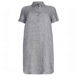 PERSONA SMALL CHECK LINEN SHIRT DRESS  - Plus Size Collection