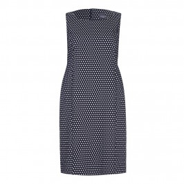 PERSONA navy polka dot fitted DRESS with optional sleeves - Plus Size Collection