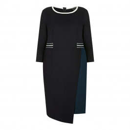 PERSONA BY MARINA RINALDI DRESS NAVY WHITE TIPPING - Plus Size Collection