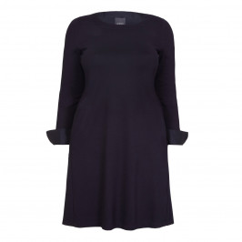 PERSONA NAVY KNIT DRESS FRENCH CUFF - Plus Size Collection