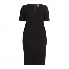 PERSONA black rib texture v-neck DRESS