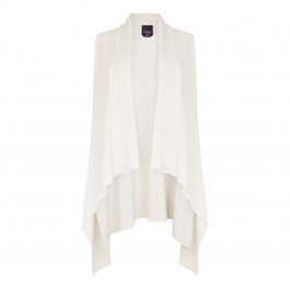 PERSONA ICE WHITE RIB KNIT GILET WITH WATERFALL FRONT - Plus Size Collection