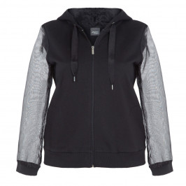 PERSONA BY MARINA RINALDI BLACK HOODY WITH CHIFFON  - Plus Size Collection