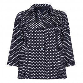 PERSONA navy polka dot JACKET - Plus Size Collection