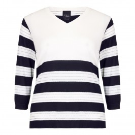 PERSONA navy and white striped knitted TUNIC - Plus Size Collection