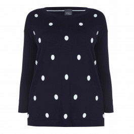 PERSONA navy spot front, stripe back, Knitted Tunic - Plus Size Collection