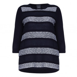 PERSONA navy and white stripes KNITTED TUNIC - Plus Size Collection