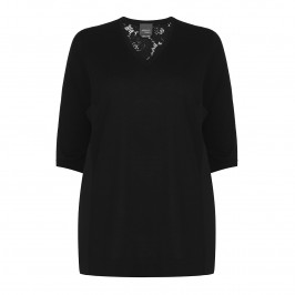 PERSONA black lace back knitted TUNIC - Plus Size Collection
