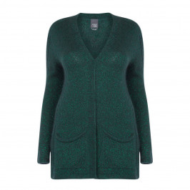 MARINA RINALDI GREEN LUREX CARDIGAN LONG - Plus Size Collection