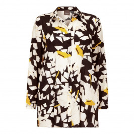 PERSONA silk abstract print OVERSHIRT - Plus Size Collection