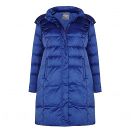 PERSONA VIOLET GLOSSY PUFFA COAT WITH FUR TRIM HOOD - Plus Size Collection
