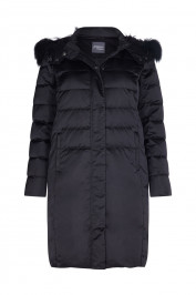PERSONA BLACK PUFFA COAT WITH FUR TRIM HOOD  - Plus Size Collection
