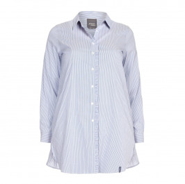 PERSONA BY MARINA RINALDI COTTON BLEND blue vertical stripe SHIRT - Plus Size Collection
