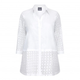 PERSONA broderie anglais SHIRT WITH SOLID COTTON PANEL - Plus Size Collection