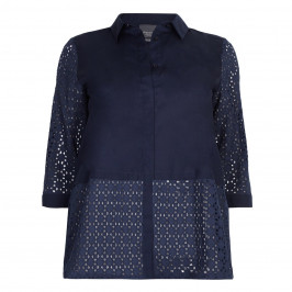 PERSONA BY MARINA RINALDI  PURE COTTON navy broderie anglais shirt with solid panel - Plus Size Collection