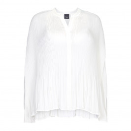 PERSONA BY MARINA RINALDI white pleated nehru collar SHIRT - Plus Size Collection