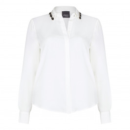 PERSONA ivory jewel collar crepe SHIRT