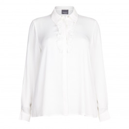 PERSONA white ruffle front SHIRT - Plus Size Collection