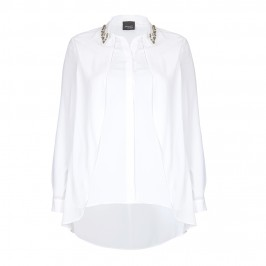 PERSONA embellished collar white draped SHIRT - Plus Size Collection