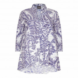 PERSONA PRINTED BLUE A LINE SHIRT  - Plus Size Collection