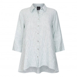 PERSONA BY MARINA RINALDI LINEN STRIPE SHIRT MINT - Plus Size Collection