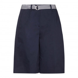 PERSONA NAVY TAILORED COTTON STRETCH SHORTS  - Plus Size Collection