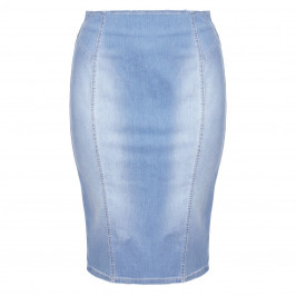 PERSONA BY MARINA RINALDI FADED BLUECOTTON DENIM PENCIL SKIRT  - Plus Size Collection