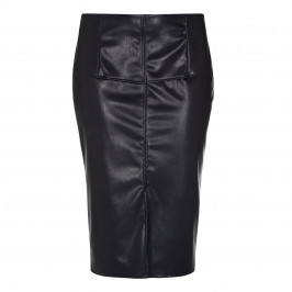 Persona Black Leather Look Pencil Skirt With Front Slit - Plus Size Collection