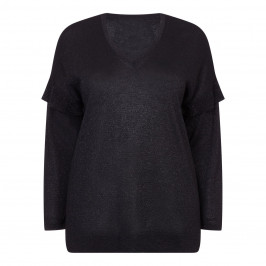 PERSONA BY MARINA RINALDI BLACK LUREX SWEATER - Plus Size Collection