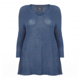 MARINA RINALDI LONG V-NECK SWEATER BLUE - Plus Size Collection