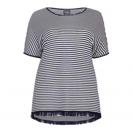 PERSONA BY MARINA RINALDI navy narrow horizontal stripe SWEATER - Plus Size Collection